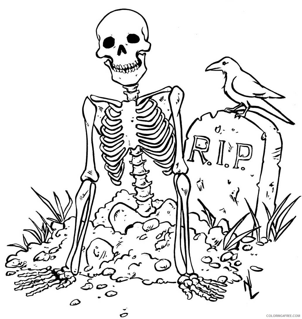 scary coloring pages skeleton Coloring4free