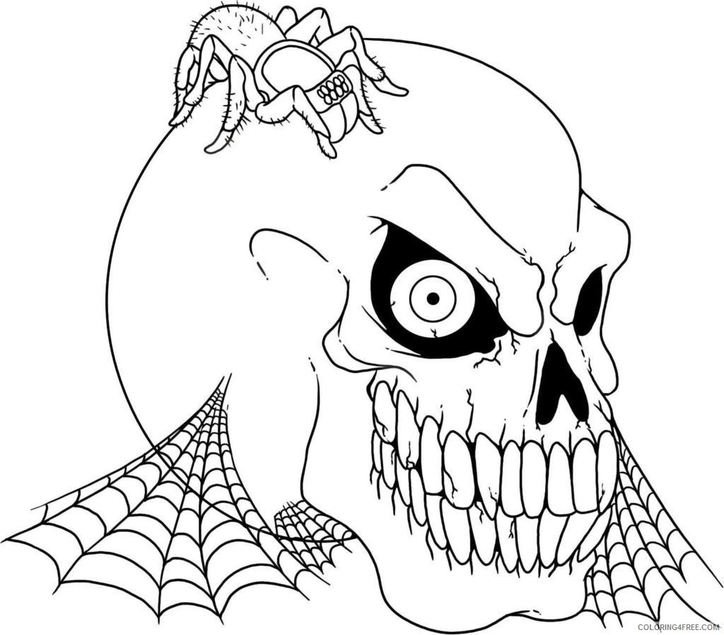 scary coloring pages skull and spider Coloring4free