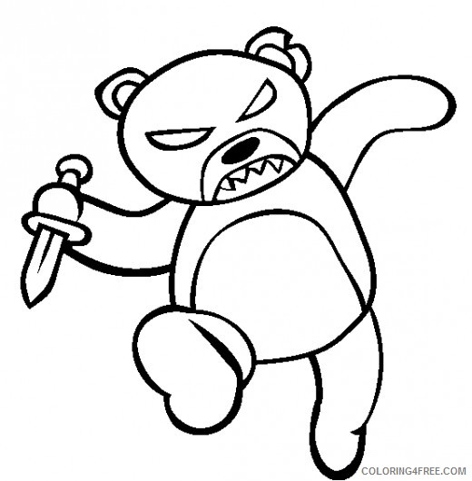scary coloring pages teddy bear Coloring4free