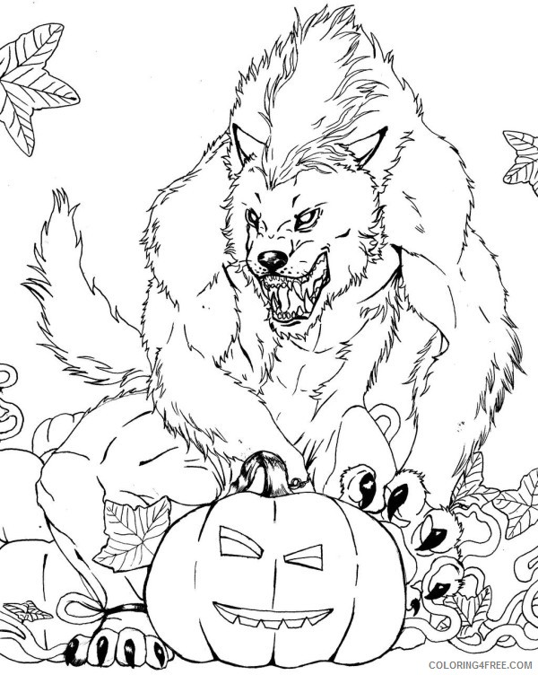 scary coloring pages werewolf Coloring4free