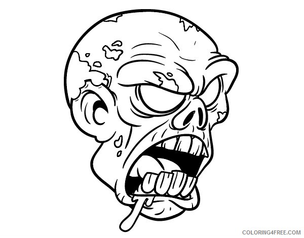 scary coloring pages zombie face Coloring4free