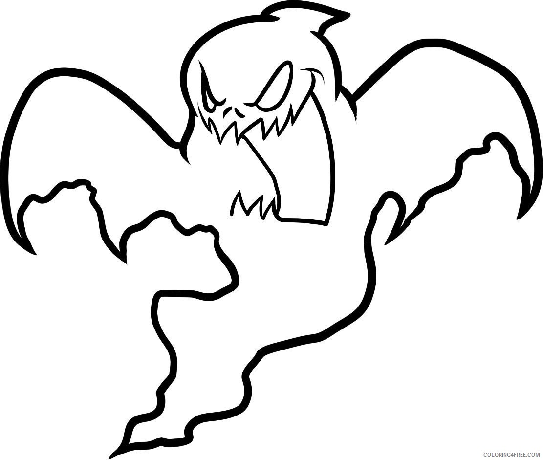 scary ghost coloring pages for kids Coloring4free
