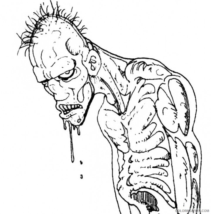 scary zombie coloring pages 2 Coloring4free