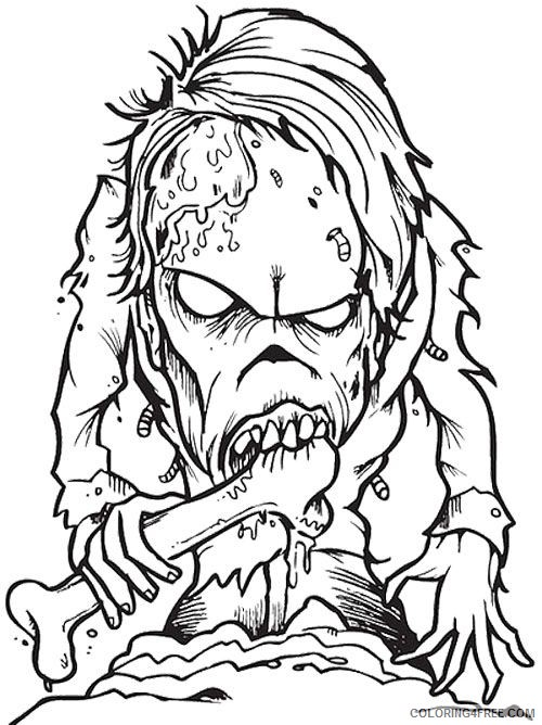 scary zombie coloring pages for adults Coloring4free