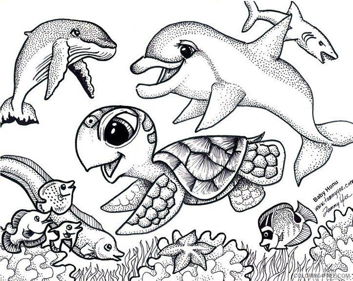 sea turtle coloring pages under the sea Coloring4free