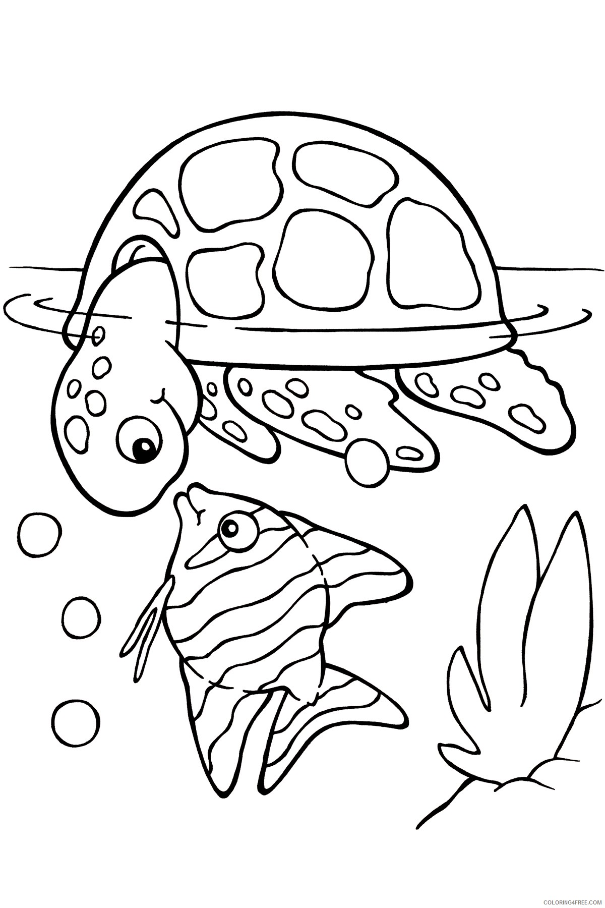 sea turtle coloring pages with fish 2 Coloring4free