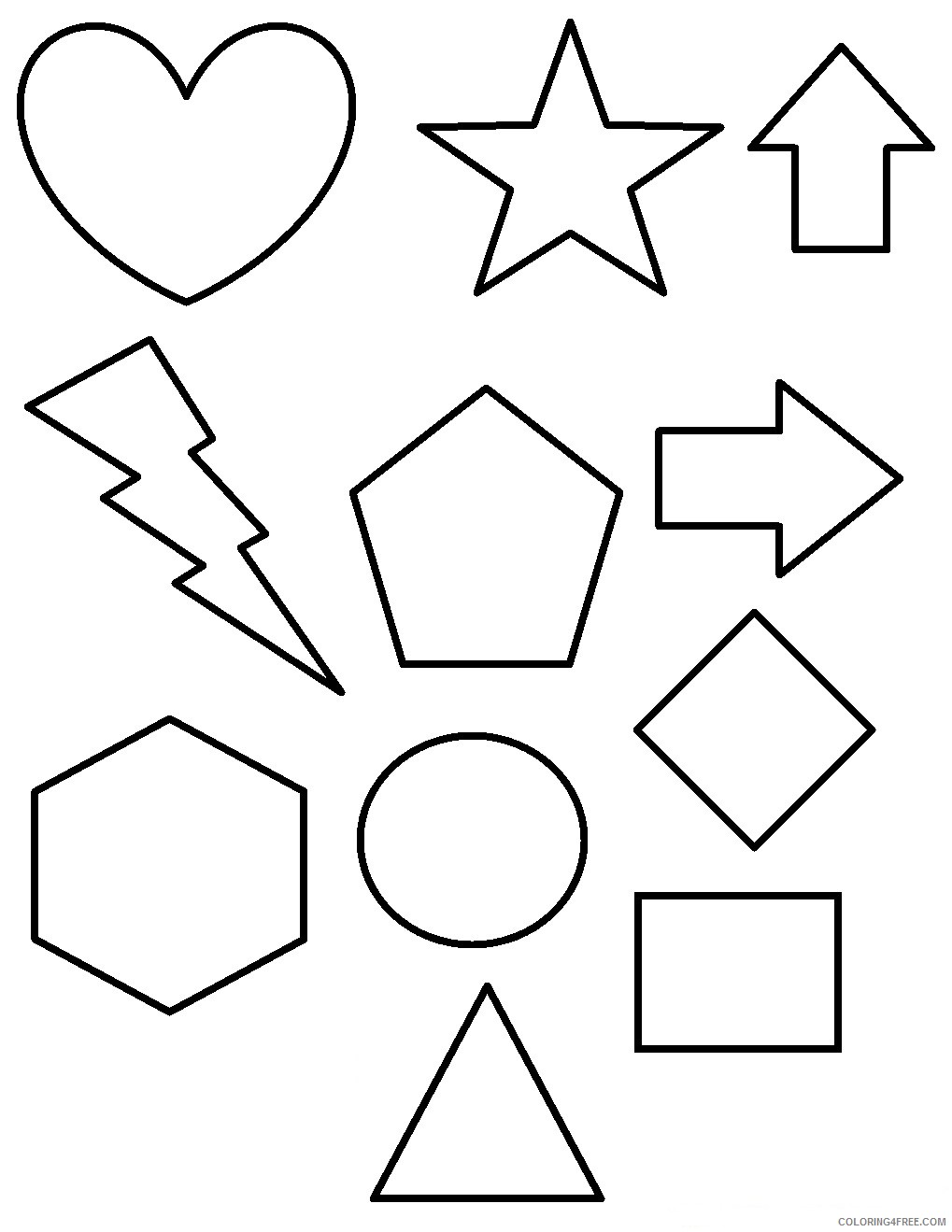 shape coloring pages for preschool Coloring4free