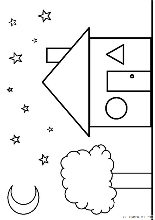 shape coloring pages house shaped Coloring4free