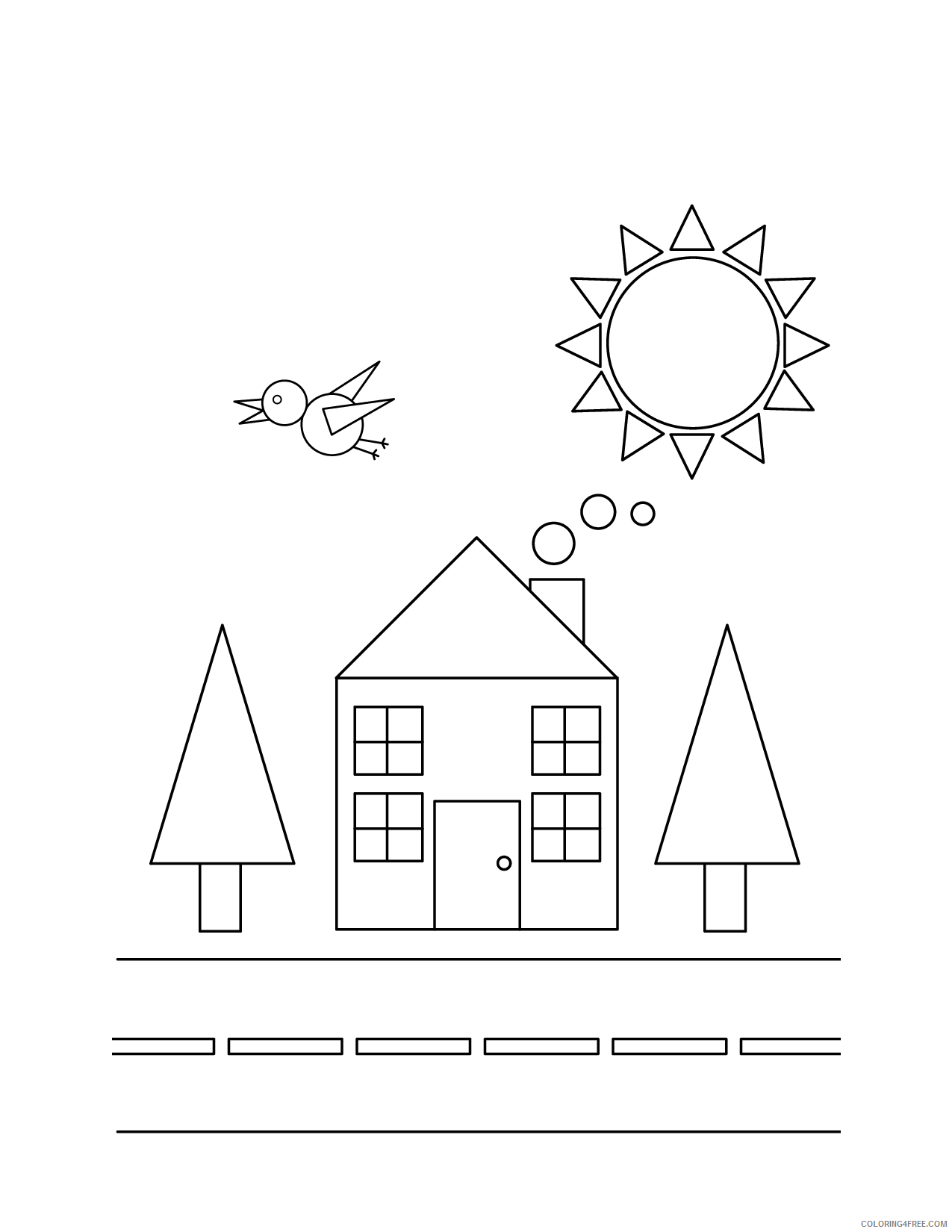 shape coloring pages in town Coloring4free