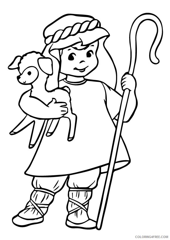sheep coloring pages with a shepherd Coloring4free