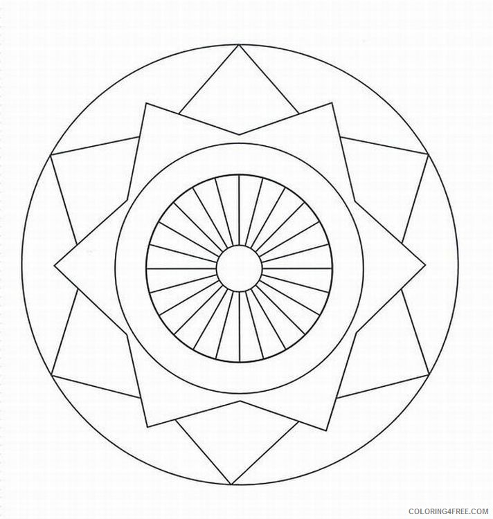 simple kaleidoscope coloring pages for kids Coloring4free