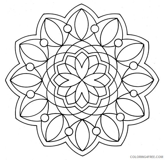 simple kaleidoscope coloring pages to print Coloring4free