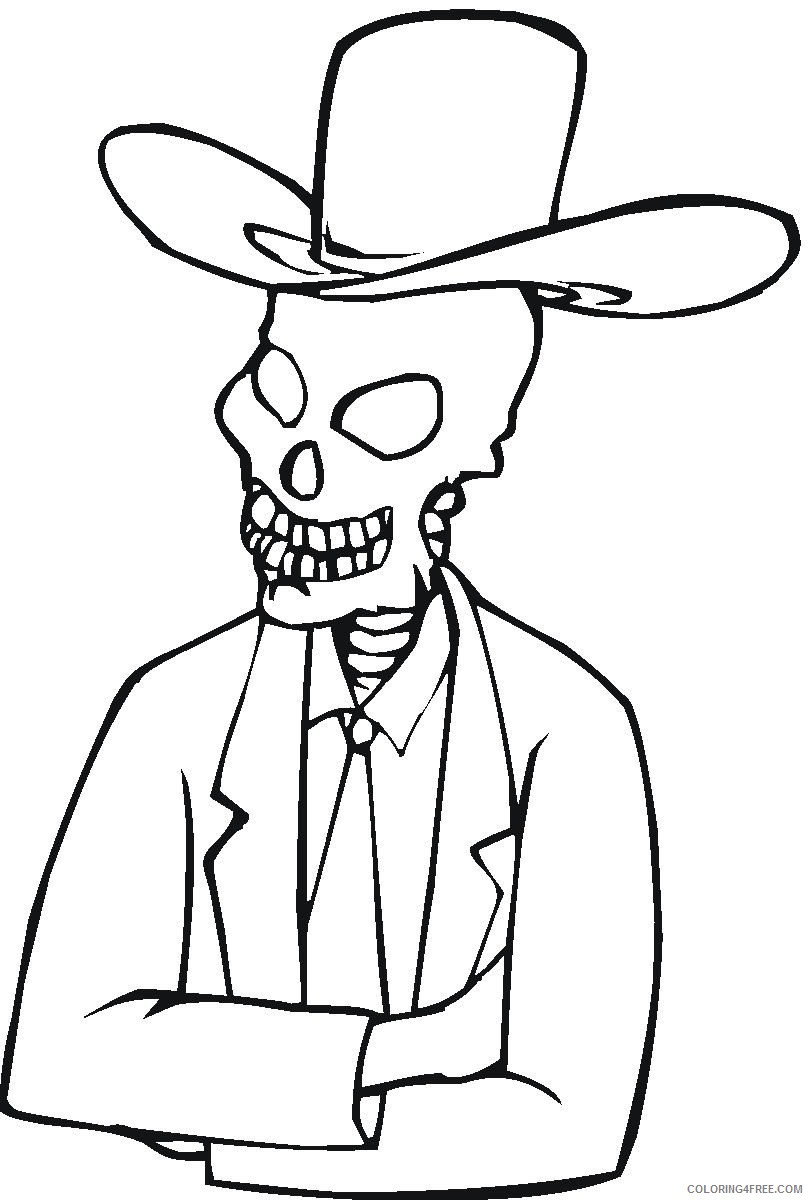 skeleton coloring pages wearing hat Coloring4free