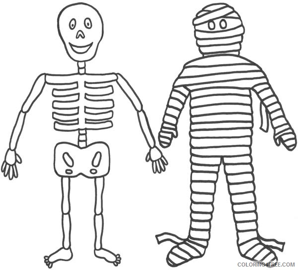 skeleton coloring pages with mummy Coloring4free