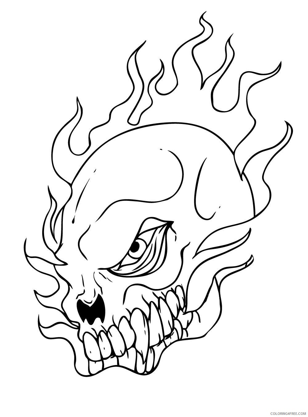 skull coloring pages in fire Coloring4free