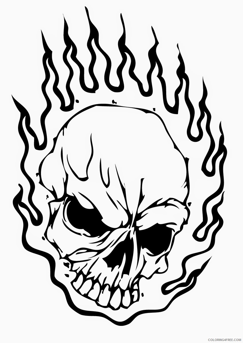 skull coloring pages on fire Coloring4free