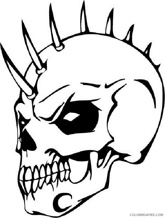 skull coloring pages punk Coloring4free