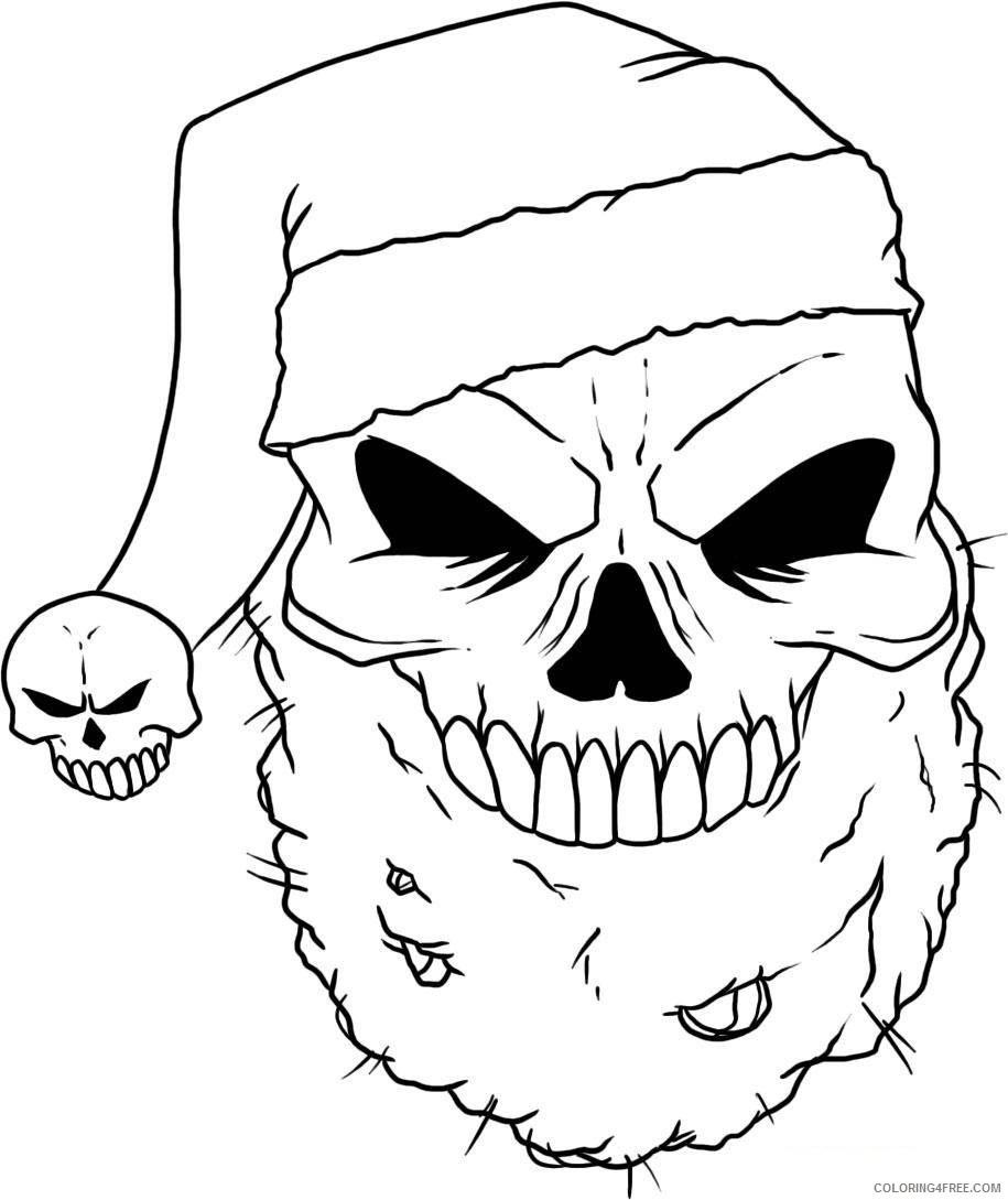 skull coloring pages santa hat Coloring4free