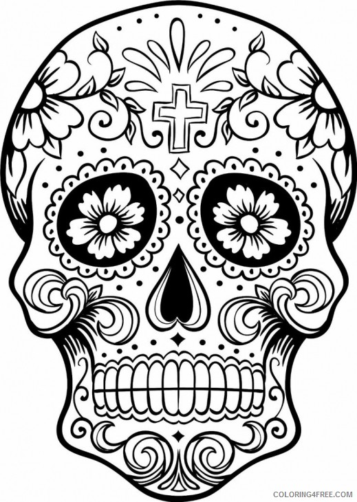 skull coloring pages sugar skull Coloring4free