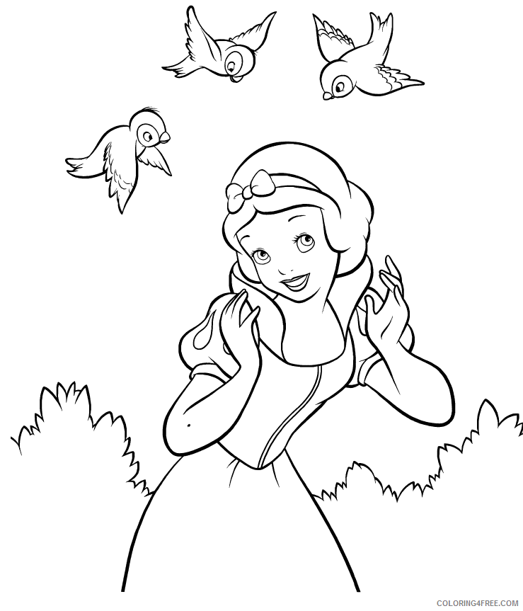 snow white coloring pages and birds Coloring4free