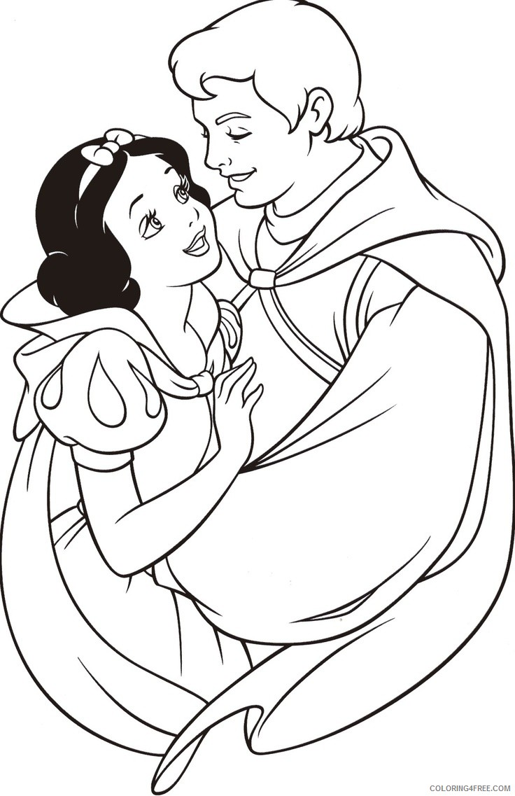 snow white coloring pages and the prince Coloring4free