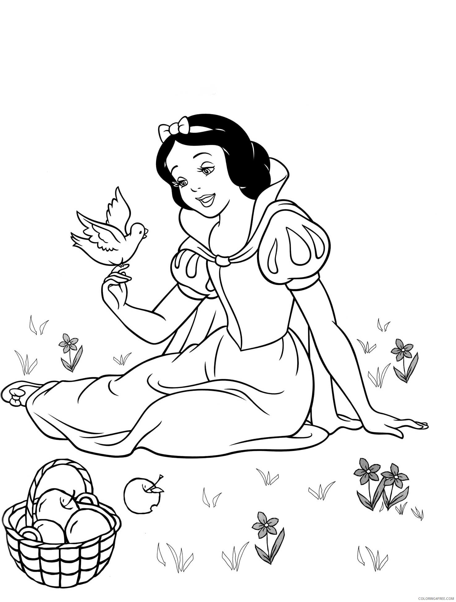 snow white coloring pages free to print Coloring4free