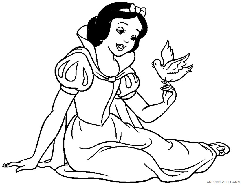 snow white coloring pages with bird Coloring4free