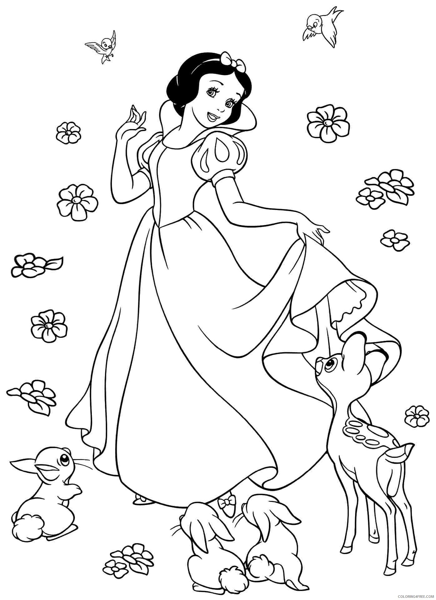 snow white coloring pages with forest animals Coloring4free