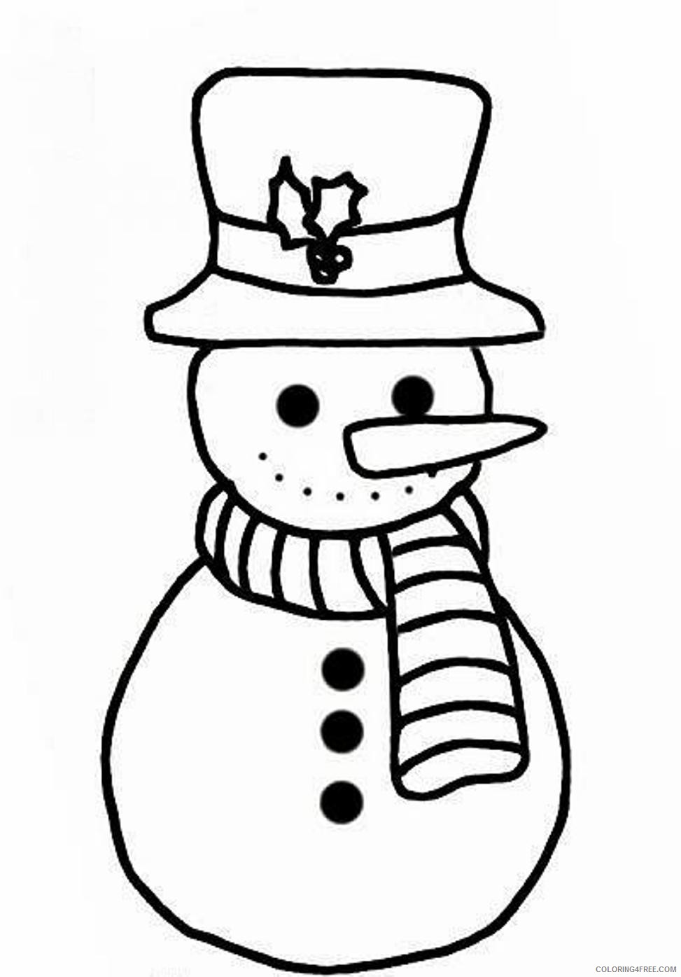snowman coloring pages for toddler Coloring4free