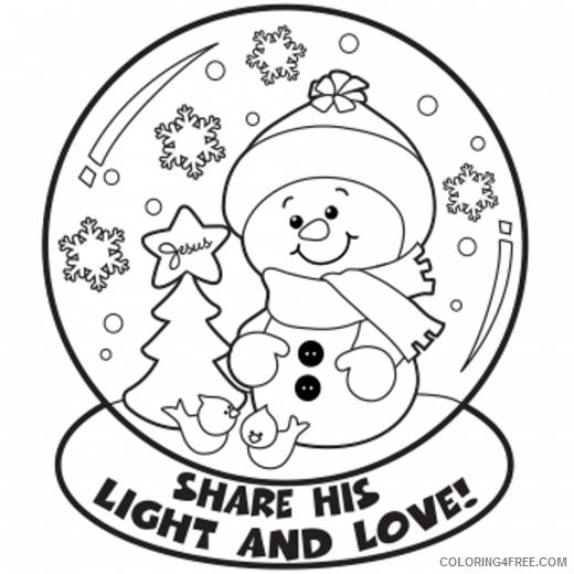 snowman coloring pages in snow globe Coloring4free