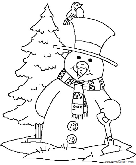snowman coloring pages printable Coloring4free