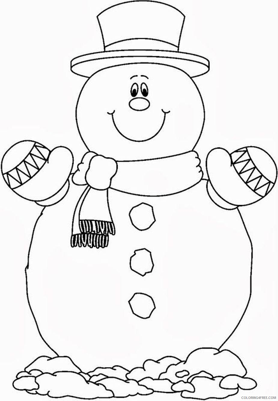 snowman coloring pages smiling Coloring4free