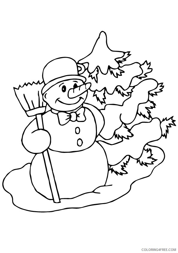 snowman coloring pages snowy pine tree Coloring4free