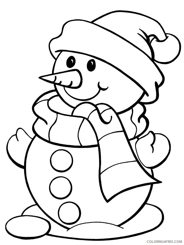 snowman coloring pages wearing scarf and hat Coloring4free