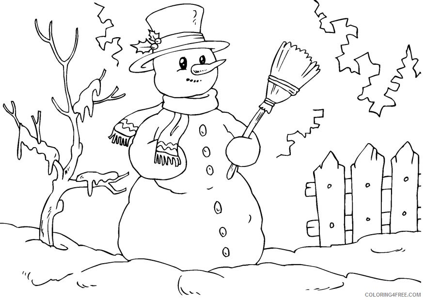 snowman coloring pages winter Coloring4free
