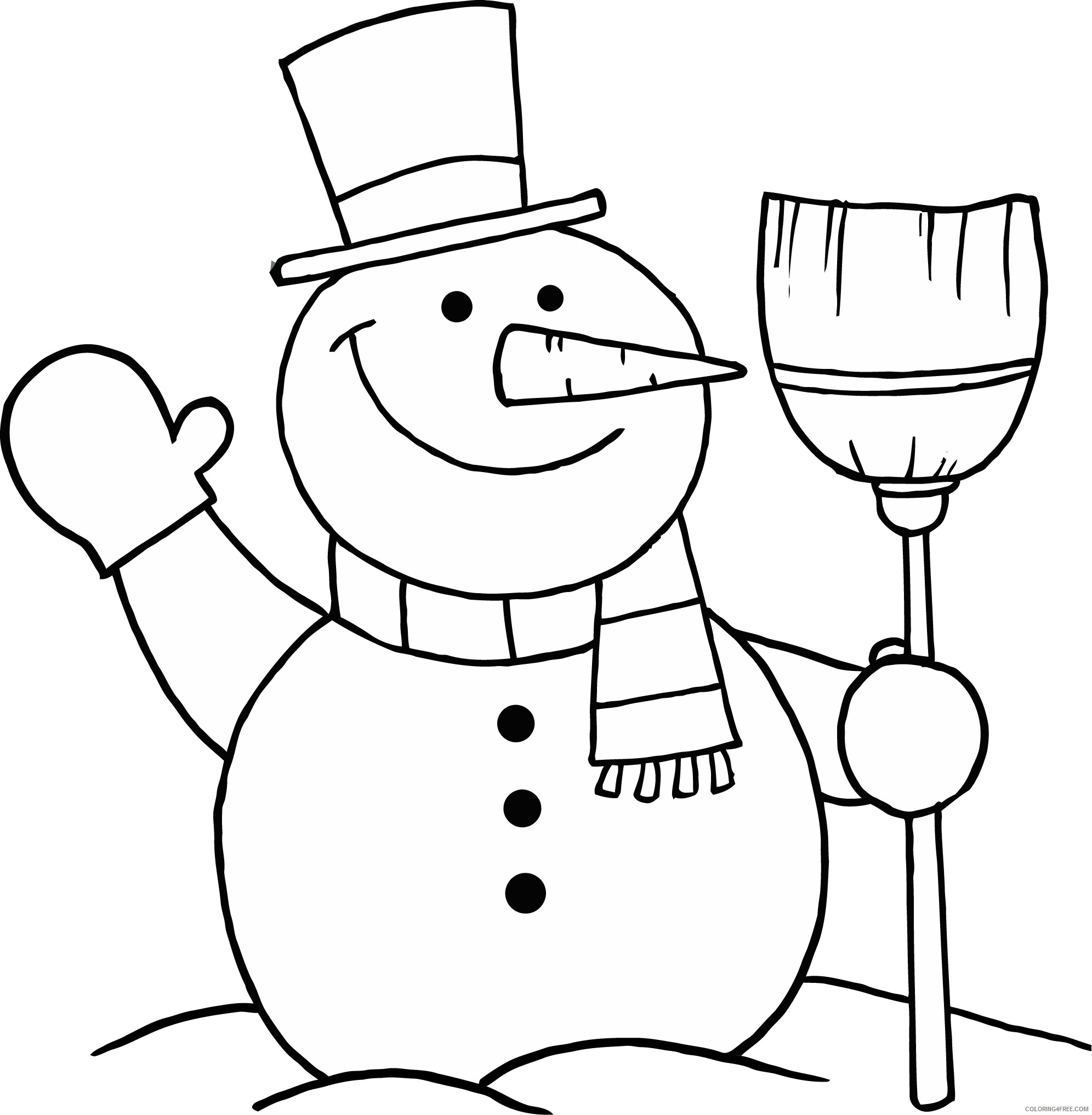snowman coloring pages with broom Coloring4free