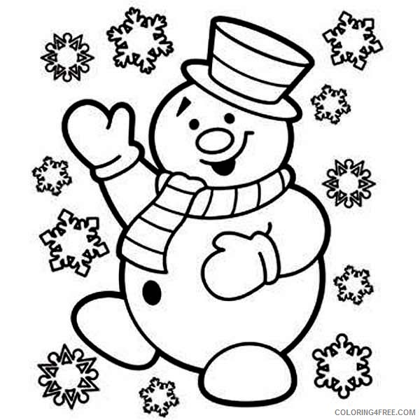 snowman coloring pages with snowflakes falling Coloring4free