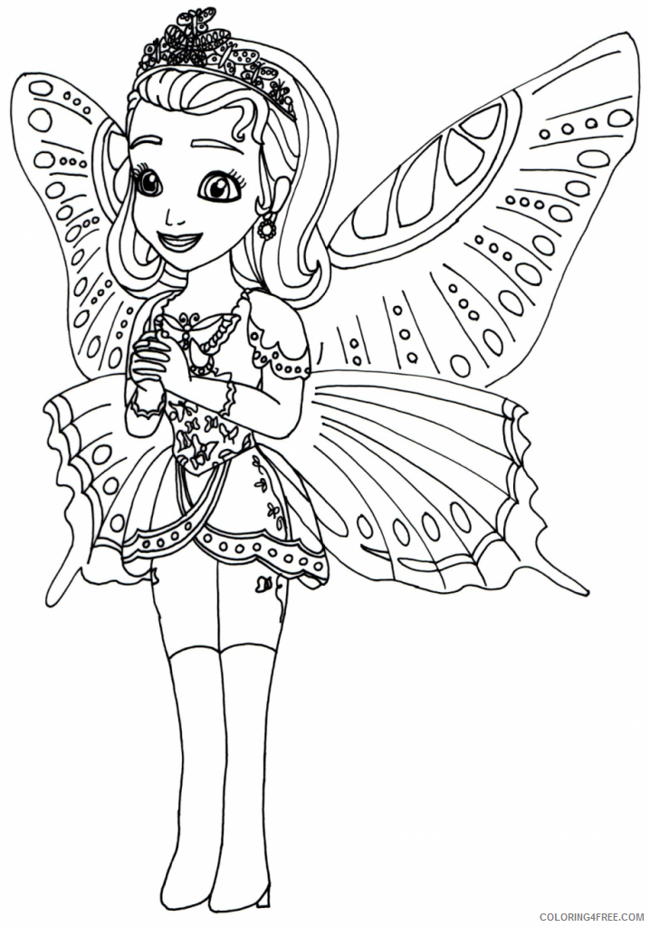 sofia the first coloring pages princess amber butterfly costume Coloring4free