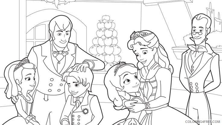 sofia the first coloring pages sofia and family Coloring4free