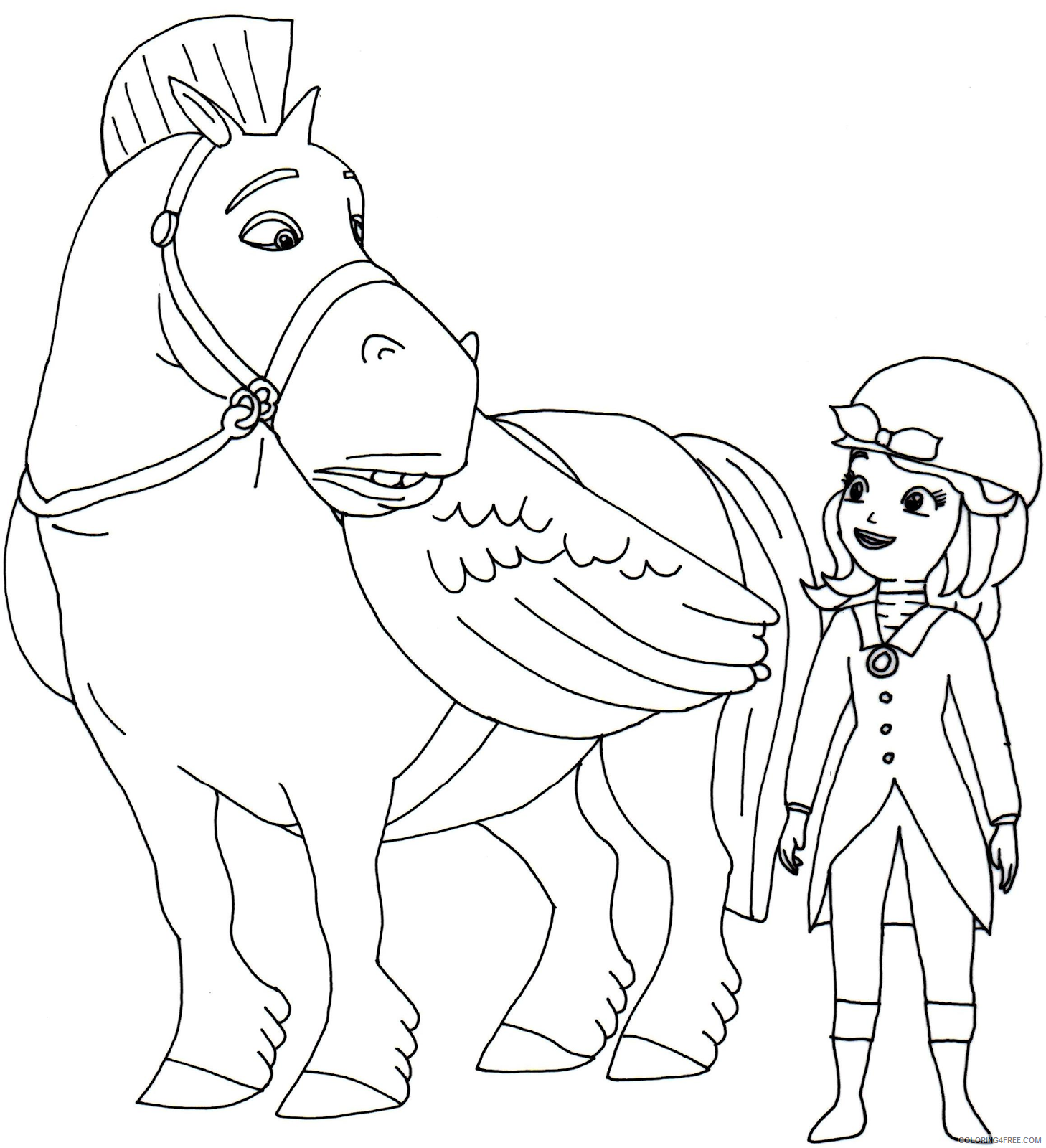 sofia the first coloring pages with minimus Coloring4free