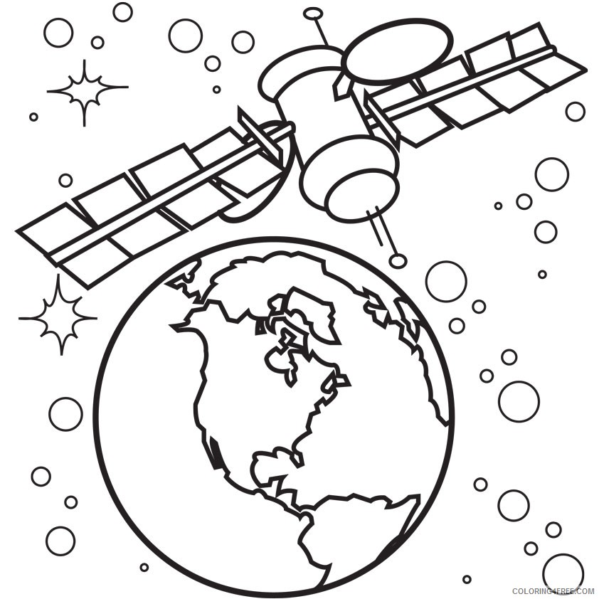 space coloring pages earth satellite Coloring4free