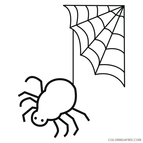 spider coloring pages hanging from web Coloring4free