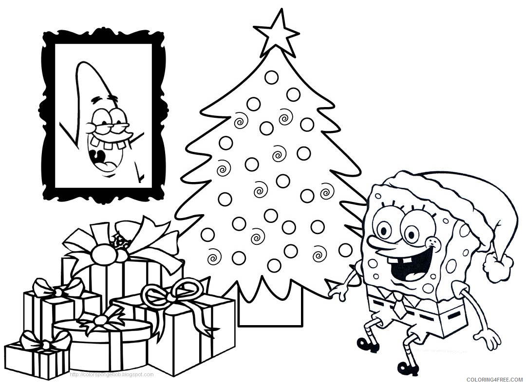 spongebob squarepants coloring pages christmas gifts Coloring4free