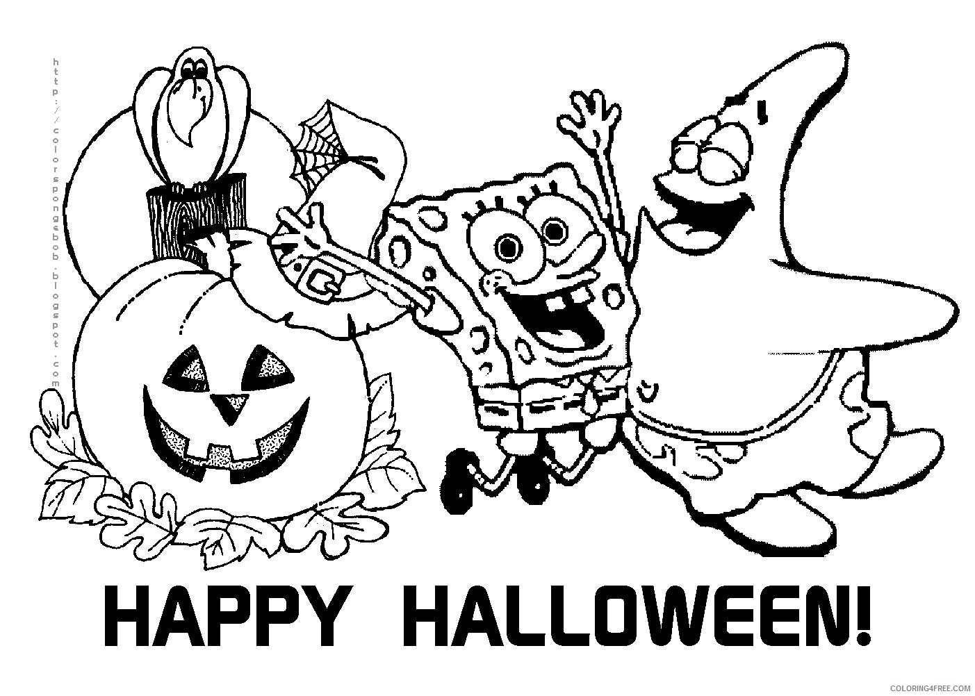 spongebob squarepants coloring pages halloween Coloring4free