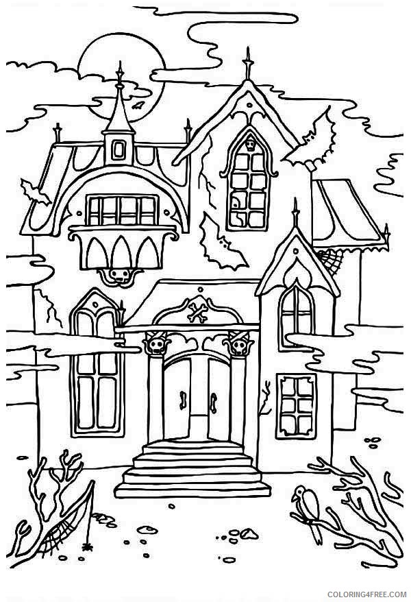 spooky haunted house coloring pages Coloring4free