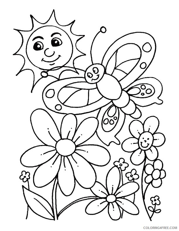 spring coloring pages butterfly flower sun Coloring4free