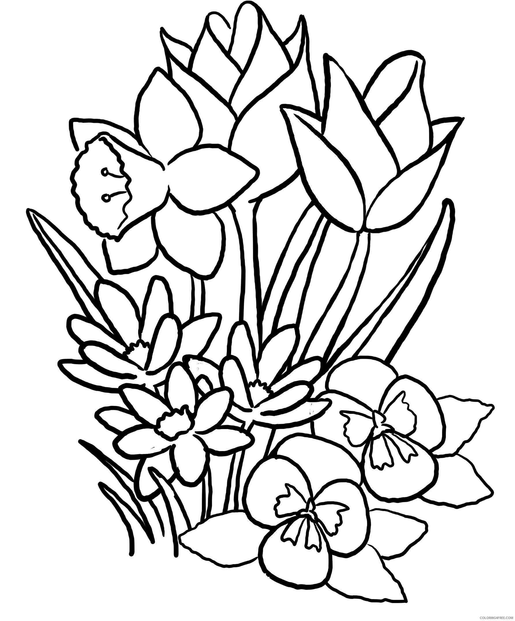 spring coloring pages flowers Coloring4free