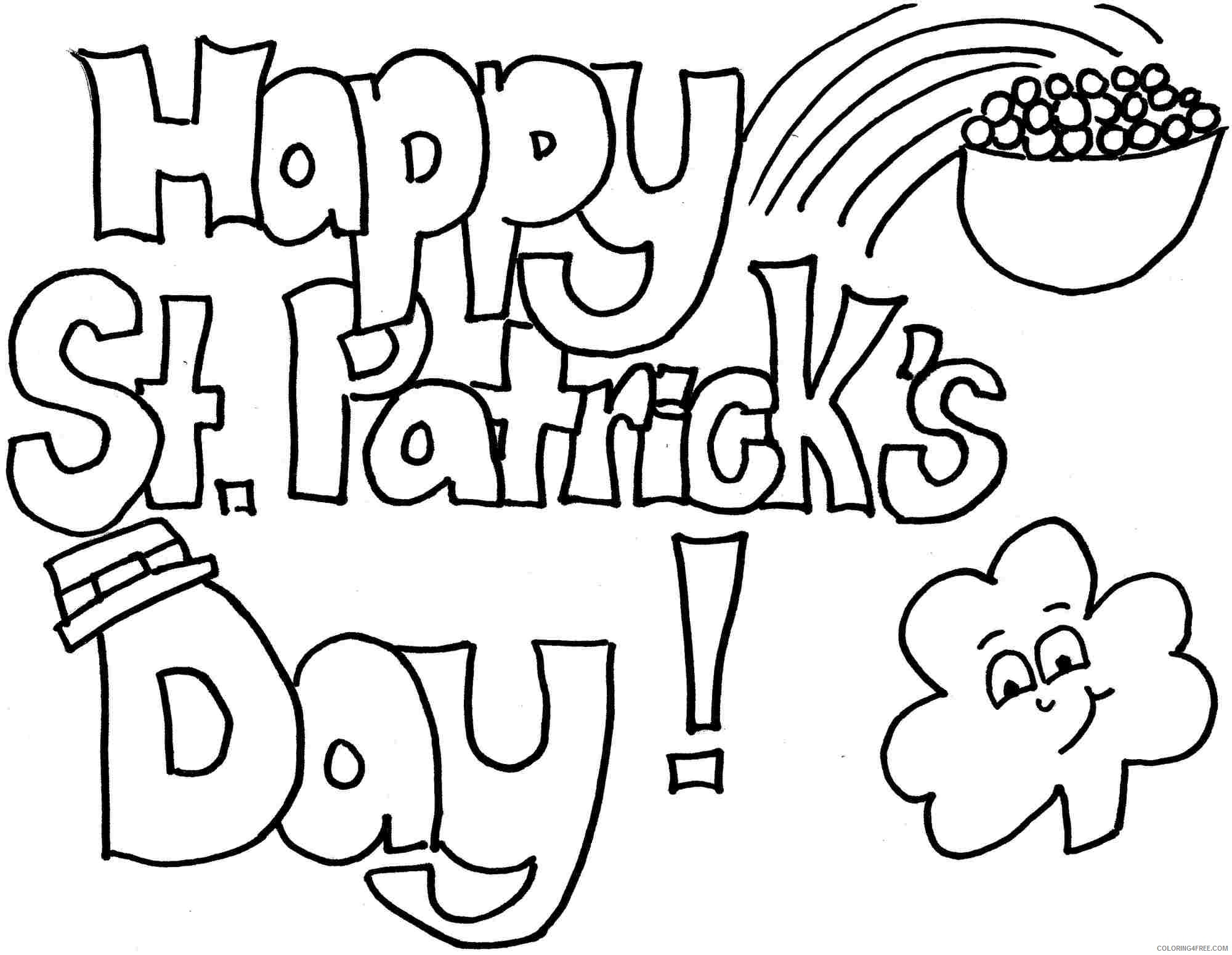 st patricks day coloring pages free for kids Coloring4free