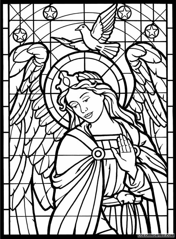 stained glass coloring pages angel and dove Coloring4free