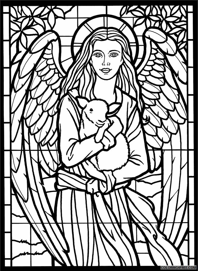 stained glass coloring pages angel and sheep Coloring4free